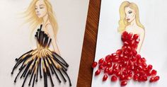 Armenian Illustrator Completes His Cut-Out Dresses With Everyday Objects - Armenian fashion illustrator Edgar Artis uses stylized paper cut outs and everyday objects to create beautiful dresses. His creative fashion sketches include such items as rose petals, various plants and food, even buildings.