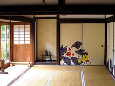 襖絵 : 蓮 木村英輝 Fusuma paintings of lotus flowers by Kimura Hideki.