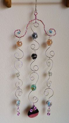 Wire wrapped Marble suncatcher! Sun catcher wind chime.window charm, I made.Wire work. beads.