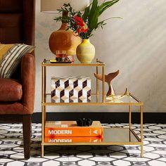 Buywest elm Terrace Side Table, Antique Brass Online at johnlewis.com