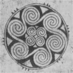 Fylfot on picture stone 8th Century CE. Gotland, Sweden.  Whorls symbolize the sun?