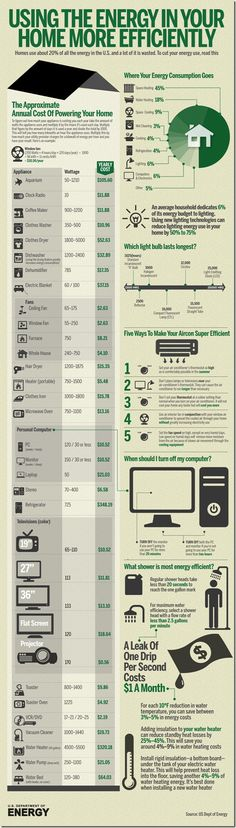 INFOGRAPHIC: Using the Energy in Your Home More Efficiently. #energyefficiency #gogreen