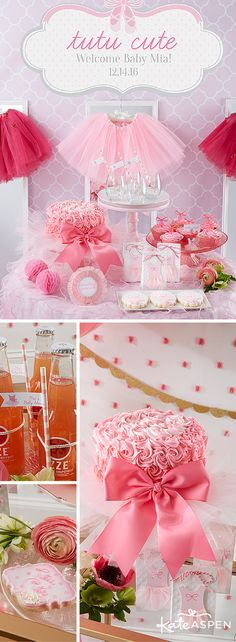 Ribbons, tutus, and ballet shoes are what little girls are made of! It doesn't get more girly than tutus, pink frills, ballet shoes, and bows for a tutu cute baby shower!