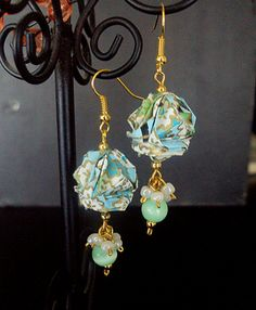 Origami earrings  Mini kusudama  Paper jewelry  by OriArte on Etsy