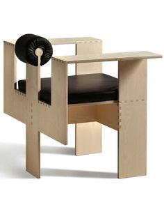 Mario Botta; Maple Plywood and Leather 'Morelato' Chair for Morelato, 2013.