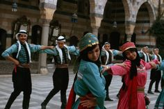 Picture of Syrian folk dancers performing in Damascus.