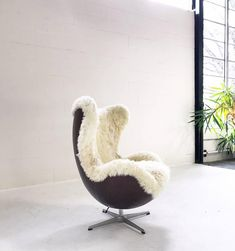 Arne Jacobsen for Fritz Hansen Egg Chair Restored in Sheepskin and Leather. Oh LOVE. When I win the lottery *sigh*