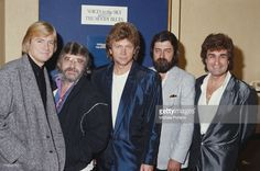 English rock group The Moody Blues posed in London on 11th October 1984. Left to right: Justin Hayward, Graeme Edge, John Lodge, Ray Thomas and Patrick Moraz.