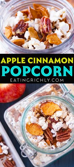 This apple cinnamon popcorn recipe makes a wonderful and healthy edible gift for Christmas! Air popped popcorn is tossed with freeze dried apples, pecans, and a light cinnamon sauce for a healthy snack that tastes like the holidays. #popcorn #popcornrecipes #popcorntrailmix #trailmixrecipes #snackmix #snackmixrecipes #snackmixes #ediblegifts #ediblegiftrecipes #foodgifts #diygifts #homemadegifts #giftideas Trail Mix Recipes, Snack Mix Recipes, Popcorn Recipes, Cinnamon Popcorn, Cinnamon Apples, Recipe Maker, Most Delicious Recipe, Edible Gifts