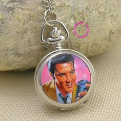 Elvis Presley For Women Ladies Gril Pocket Watch Necklace ladies girl fob watches silver antibrittle Fashion Wholesale rock roll