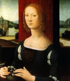 Caterina Sforza. Wife of Giovanni de 'Medici. mother of Giovanni delle Bande Nere. Portrait of Lorenzo Di Credi