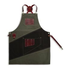 "Cafe apron, luxury item, premium quality leather & cotton, w/ accessories pockets, ""Khaki / Dark Brown and Minoan Red"" - LOSTRIS GAMMA Leather Fabric, Leather Case, Calf Leather, Cafe Apron, Shop Apron, Barber Apron, Leather Suspenders, Minoan, Brown Canvas"