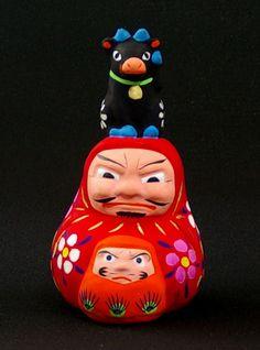 会津中湯川土人形 福島 Japanese Mask, Japanese Toys, Wood Sculpture, Sculptures, Daruma Doll, Japanese Colors, Traditional Toys, Masks Art, Kokeshi Dolls
