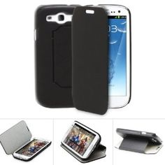 Amazon.com: Fosmon Leather Case with Folding Stand for Samsung GALAXY S3 SIII i9300 - Black & Grey Suede: Cell Phones & Accessories