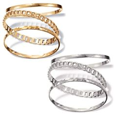 Smooth, etched, hammered and linked ... textured metals are right on trend!Three stackable bangle bracelets; one has a brushed finish, one has a hammered look, and one has an openwork connecting circles design. Sets are offered in both silvertone and gold tone. One size fits most. Imported.
