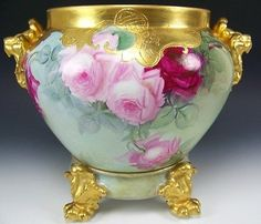 GORGEOUS-LIMOGES-FRANCE-HAND-PAINTED-ROSES-JARDINIERE-WITH-PLINTH