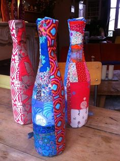 Some of my fabric vases I sell in my workshop. ©Julie Yülle