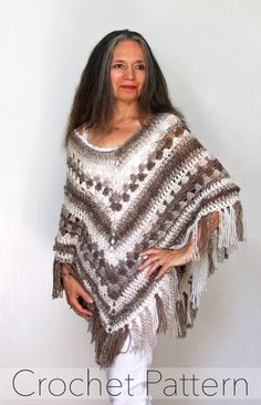 Crochet Poncho PATTERN / Striped Wrap / Made in Canada /