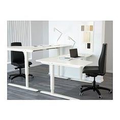 BEKANT Ecktisch links sitz-/steh, weiß - 160x110 cm - IKEA