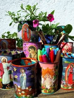 Tin cans + Mod podge + Religious collage.