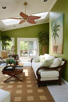 Tropical Living Room with Ceiling fan, Marlite supreme wainscot hdf tongue and groove paintable white beadboard panel