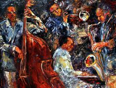 "Portrait Artists International: Original Jazz Art Music Abstract Painting ""Hot Jazz Three"" by Debra Hurd"