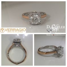 Custom Verragio Engagement ring in white and rose gold with a round diamond as the center stone.   D. Geller & Son Jewelers in Atlanta, GA.