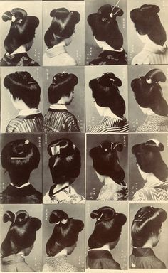 Hairstyles worn by Osaka Geiko, 1910