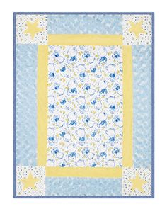 """Corner Fun Nite Nite Theo Free Cuddle Baby Quilt pattern http://www.shannonfabrics.com/download_patterns/Corner_Fun_Pattern.pdf http://www.shannonfabrics.com/Quilts - A great quilt featuring """"Little Star"""" from the Cuddle Baby Collection. Featuring colors Baby Blue, Sky, Electric Blue, and Banana, this quilt measures at about 29"""" x 35""""."""