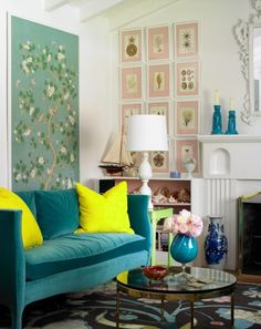 35 Incredible Neon Interior Designs -- this room right here with the teal sofa pretty much rules.