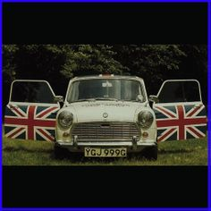 mini with Union Jack flags on both doors