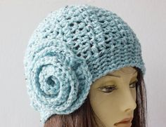 Crocheted Hat  Chunky Blue Flower Cloche  Slouchy by beadedwire
