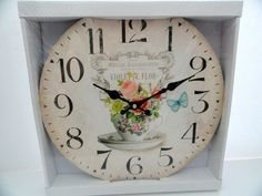 SHABBY CHIC FARMHOUSE FLORAL  FRENCH SCRIPT BUTTERFLY WALL CLOCK VINTAGE STYLE