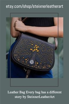 Find amazing PREMIUM Leather gift ideas for Christmas! This Tree of Life leather shoulder bag is made of genuine leather with 10 years GUARANTEE. Premium quality from Steixner! Check out my shop: etsy.com/shop/steixnerleatherart #engravingideas #engravedgifts #leatherbag