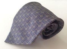Polo Ralph Lauren Neck Tie Blue Beige Geometric 100% Silk #PoloRalphLauren #NeckTie