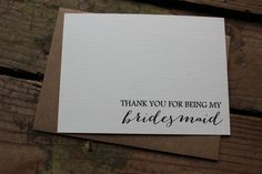 Set of 10 Wedding Party Thank You Cards with Envelopes by PontoMountainPaper
