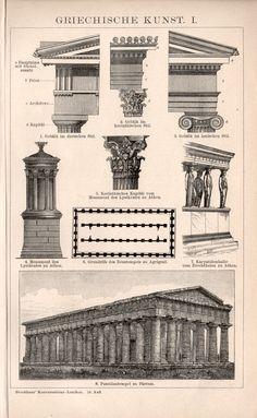 Arquitectura griega 1898 Ilustración, escultura grabada, griega antigua, arte de Grecia, mármoles del Partenón, Atenas, templos de Grecia clásica