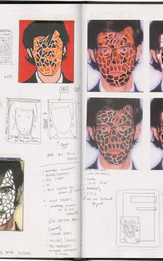 Inside Stefan Sagmeister's sketchbook - here you can see his conceptualization of the man and nature artwork. He uses different colors/textures and experiments with having the facial features integrated into the graphic or not. Photography Sketchbook, Art Sketchbook, Portrait Photography, Photography Store, Fashion Sketchbook, Moleskine, Sagmeister And Walsh, Stefan Sagmeister, Doodle Inspiration