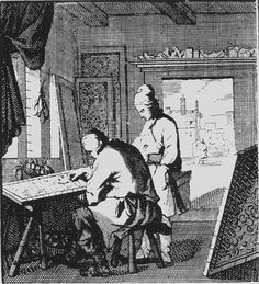 The Silk Embroiderer, 1698.  Christoph Weigel. By then professional embroidery, just like all the other crafts, were done by men. Women to embroider at home for their own use. Panels of finished embroideries are leaning against the wall, while the man is working, bent over the frame, which is simpler than the one compared to in 1750, but the logic behind the embroidery frame workings has been the same for centuries already. Skeins of coloured silks are gathered in a basket behind the…