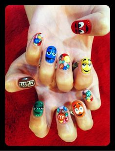 m&m nails! I just did the m&m faces and those turned out great! They were easier than I thought!