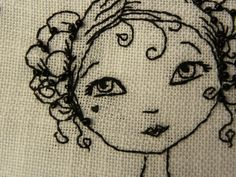 face of a young girl - blackwork embroidery Blackwork Embroidery, Embroidery Art, Embroidery Applique, Cross Stitch Embroidery, Embroidery Patterns, Machine Embroidery, Zentangle Patterns, Embroidery Techniques, Fabric Art