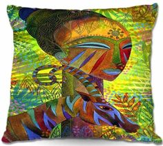 Decorative Smooth Woven Linen Couch Throw Pillow from DiaNoche Designs by Jennifer Baird Home Unique Bedroom, Living Room and Bathroom Ideas African Queens DiaNoche Designs http://www.amazon.com/dp/B00HBR6AFO/ref=cm_sw_r_pi_dp_e4.3tb03DDFAFJ0M