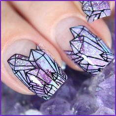 Crystals Nail Decal using Stamp Plate @BundleMonster BM-S303