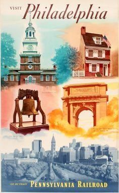 Philadelphia Pennsylvania Railroad, 1950s - original vintage poster listed on AntikBar.co.uk