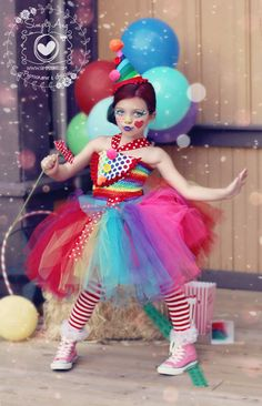 Items similar to Girls Circus Costume- Girls Clown Costume- Carnival Birthday- Circus- Rainbow - Birthday - Tutu dress- costume- girls costume dress on Etsy