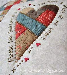 Teším sa, že bude práve u Ivetky ♥ Quilt Binding, Quilt Stitching, Applique Quilts, Quilting Projects, Quilting Designs, Sewing Projects, Heart Quilt Pattern, Quilt Patterns, Colchas Country