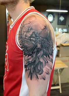 Chronic Ink Tattoo - Toronto Tattoo Warrior angel tattoo done by guest artist Emilio Winter.