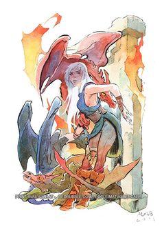 Khaleesi Daenerys Targaryen: Game of Thrones fan art by Matias Bergara  www.redbubble.com/people/matiasbergara/works/10828301-daenerys-targaryen-khaleesi