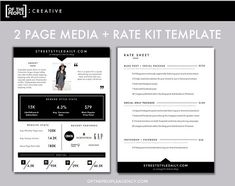 2-Page Media Kit Template  Press Kit for by ofthepeoplecreative