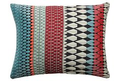 Hope 17x14 Pillow, Turquoise by Margo Selby  Featuring a remarkable three-dimensional pattern in shades of black, mint, and turquoise, this pillow adds interesting character and depth to any space in your home.
